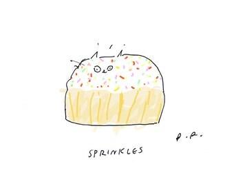 Sprinkles - Cat Print - Cupcake Art - Funny Cat Print