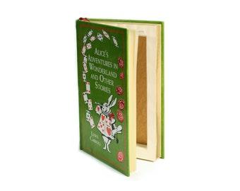 Green Alice in Wonderland Hollow Book Gift Box Secret Storage Booksafe Handmade Alice's Adventures Leatherbound Green Gold - CUSTOM ORDER
