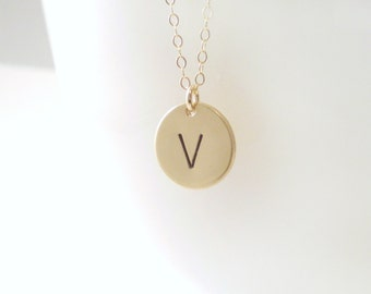 Personalized Initial Necklace - Letter Necklace - Hand Stamped Disc on Delicate Chain - Your Choice of Initial