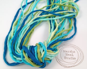 Hand Dyed Silk Ribbon - Silk Cord - DIY Craft - Jewelry Supplies - Wrap Bracelet - Craft Supplies - 2mm Silk Cords Caribbean Blue Green