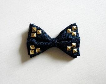 Vintage Studded Bow Tie, Bowtie, Blue Silk Bowtie, Studded Bow Tie