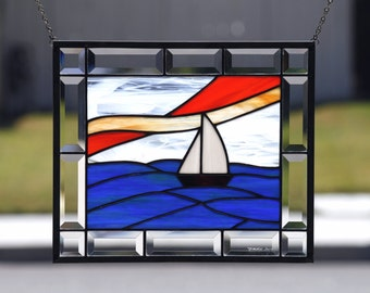 SMOOTH SAILING -Contemporary Stained Glass Window Panel with Sailboat , Blue, Green, Clear Bevels, Nautical, Ocean, Sea, Lake, Nautical