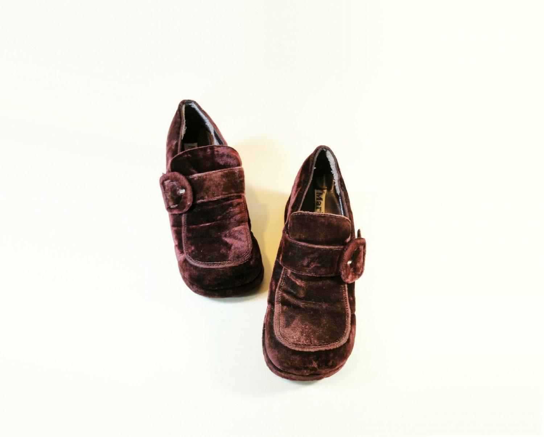 70s platform shoes vintage burgundy size 8 boho by