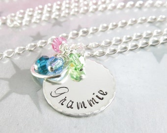 Grammie Necklace - Hand stamped Jewelry - Sterling Silver - Grandma Jewelry - Granny Pendant