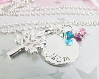 Hand Stamped Mom Necklace - Family Tree - Mommy Pendant - Sterling Silver - Hand Stamped Mommy Jewelry