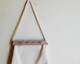 1980s Vintage Handbag Formal White Beaded Gold Metal Purse
