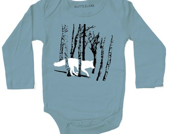 Baby Clothes, Storm blue FOX Bodysuit, cozy interlock cotton, infant baby gift, running fox wolf in woods woodland design, wolf werewolf