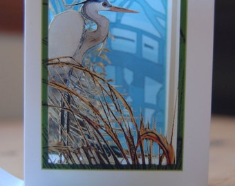 Shoreline Blue Heron in the Reeds (POPup foldOUT)