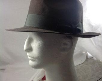 size 7 1/4 50s Borsalino brown fur felt fedora hat