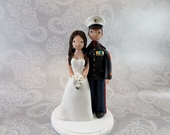 Custom Bride & Groom Military Wedding Cake Topper