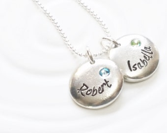 Personalized Jewelry- Birthstone Name Necklace - Hand Stamped Pebble Necklace - Name and Birthstone Necklace -Mother's Jewelry -Gift for Mom