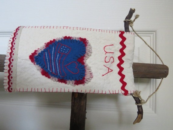 Wool Felted Embroidered Doorknob Hanger Banner OOAK Primitive Ornament USA Sochi Heart Red White Blue