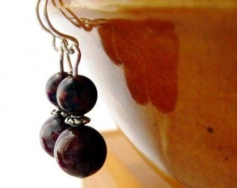 Brown Stone Earrings. Mahogany Obsidian Gemstone. Chocolate Drops