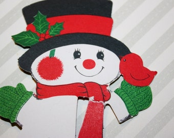 Vintage Christmas Hallmark Snowman paper honeycomb tabletop decoration about 4 inches tall