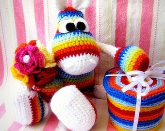 Crochet toy Amigurumi Pattern - Rainbow Hippo  with a sneakers.