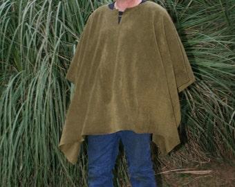 Olive Drab V-neck Make My Day Fleece Poncho