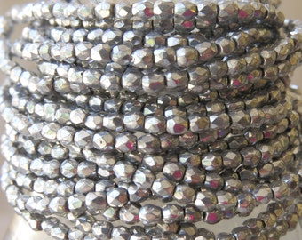 3mm Faceted Metallic Silver Firepolished Czech Glass Beads - Qty 100 (DS12)