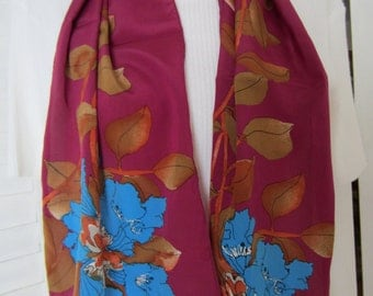 Scarf, Fuchsia and Blue Oblong Print by Vera