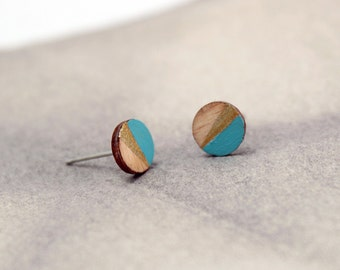 Geometric simple round stud earrings - turquoise aqua blue, gold, natural wood - minimalist, modern hand painted wooden jewelry