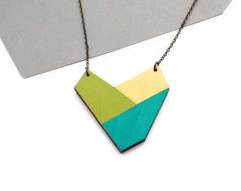 Geometric necklace, wooden nekclace - turquoise green, olive green, gold - minimalist, modern jewelry - color blocking
