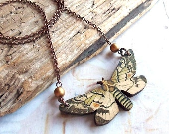 Woodland Moth - Wooden Moth with Gold Glass Beads Copper Chain Handmade Necklace