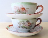 vintage porcelain teacups saucers hand painted japan set of two