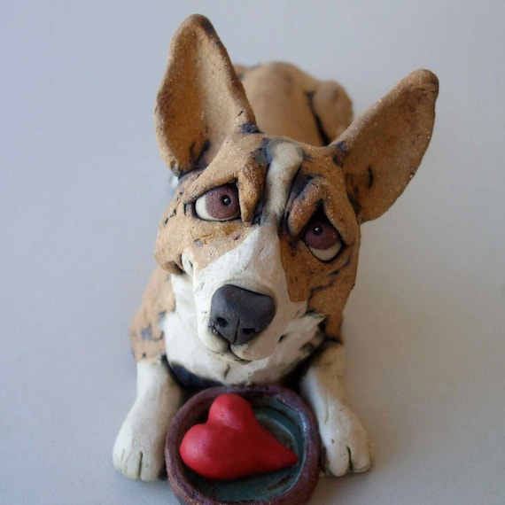 Corgi with food bowl ceramic dog sculpture by rudkinstudio on etsy