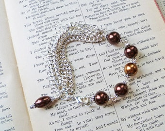 Chocolate Pearls and Chains Bracelet