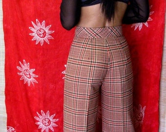 1970s Red & Black Plaid Wide Leg Bell Bottom Pants