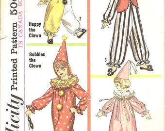 Vintage Clown Costume - 1960s Clown Sewing Pattern - Halloween  Costume - Simplicity 6198 -  Boys and Girls - Size small 4-6