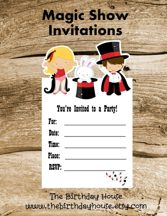 Magic Show Party Set of 8 Magic Show Invitations by The Birthday