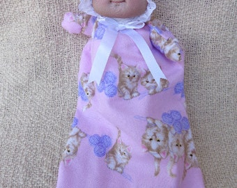 Soft sculptured newborn baby doll puppet  with pink gown