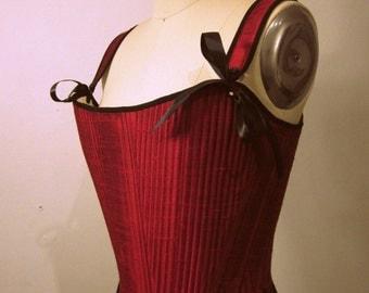 18th Century Stays in Silk, Custom Historical Reenactment 18th century Corset, Marie Antoinette Style Stays, 1770s 1760s 1750s