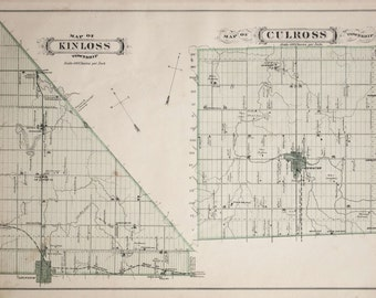 Antique Map of Kinloss and Culross Townships - Bruce County, Ontario - 1880 Handcolored Map