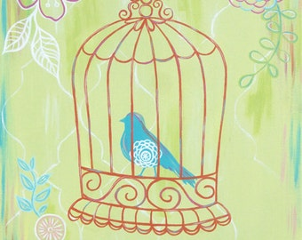 Childrens Art Print - Sherbet Crush Lime 11X14 - birdcage, girl, flower, bird, nursery wall decor