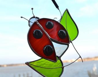 Ladybug Beetle Stained Glass Suncatcher