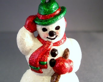 Flake the Snowman Glittered Ornament
