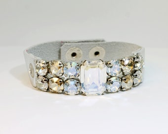 Grey Brown Clear Leather bracelet 8mm Rhinestone Bracelet Swarovski Crystal Bracelet Silver finish, Rectangular Crystal Golden,GLAMOUR,GLB21