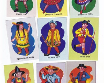 Set of 9 Vintage Childrens Game Cards Cute Children of the World Themed