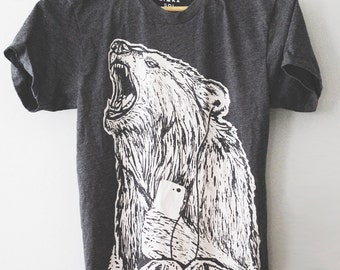 Call of The Wild || unisex Bear t-shirt, wilderness tshirt, wildlife tshirt, camping gear, rugged styled tshirt, guy gifts || by Simka Sol