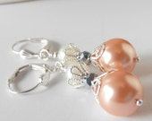 Peach Pearl Bridesmaid Earrings Peach Bridesmaid Jewelry Ivory and Peach Spring Wedding Jewelry Sets Beaded Pearl Earrings Bridesmaid Gift