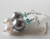 Gray Pearl and Aqua Crystal Bridesmaid Earrings, Pearl Dangle Earings, Wedding Jewelry, Beaded Jewelry, Bridesmaid Gift, Matching Jewelry