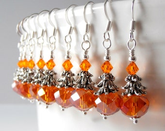 Orange Bridesmaid Jewelry, Orange Crystal Earrings in Antiqued Silver, Beaded Dangles, Rustic Chic Wedding Jewelry Set, Bridesmaid Gift