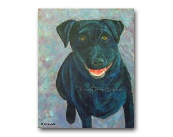 Painting Dog Art Black Dog Portrait on Canvas Smiling Dog 16x20 Fine Art Acrylic Contemporary Large Wall Decor Blue Happy Dog Original Art