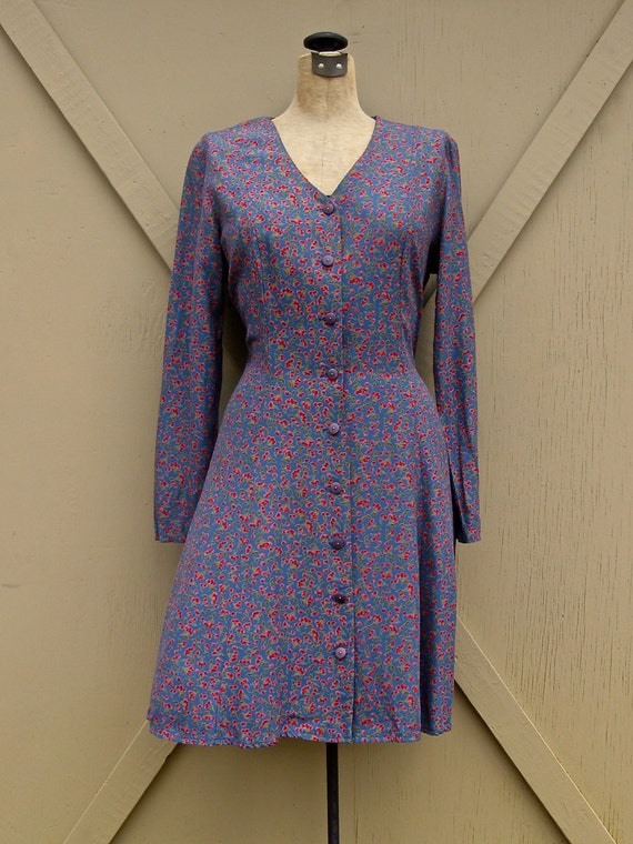 90s vintage Indigo Blue Cerise Print Dress
