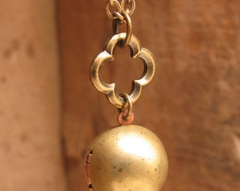 Upcycled Jewelry - Locket Necklace - Vintage Brass Round Orb Shape with Quatrafoil Connector Necklace