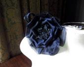 Silk Flower Millinery Rose in Midnight Blue for Bridal Sashes,  Fascinator or Hat Design, Costume or Home Decor MF 133