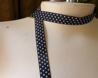 3 yds. Foldover Elastic Polka Dots Black & White for Headbands