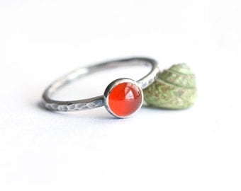 Plumeria - Orange Carnelian and Hammered Sterling Silver Ring Stacking