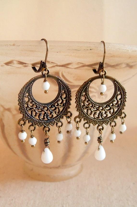 white bohemian chandelier earrings bohemian jewelry boho
